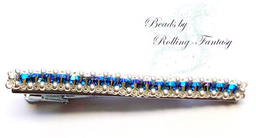 Krawattennadel in Silber-Blau (Aufsicht)