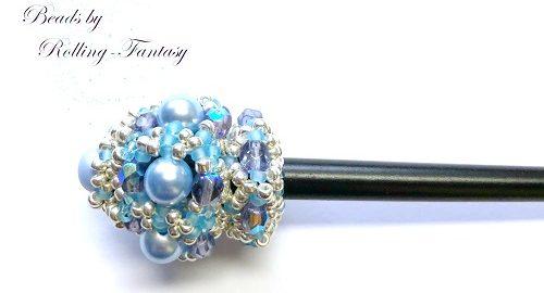 Haarstab in Silber und Blau - mit Glaswachsperlen