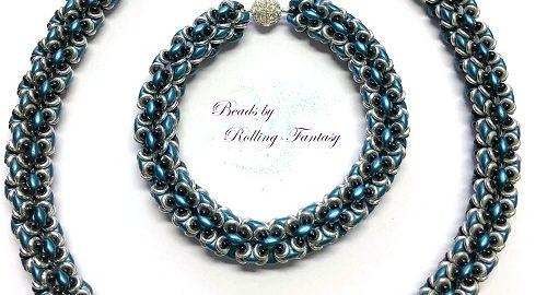 Kette mit Armband aus SuperDuos, Rocailles und O-Beads